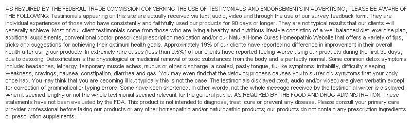 Natural Home Cures Acai Berry Disclaimer
