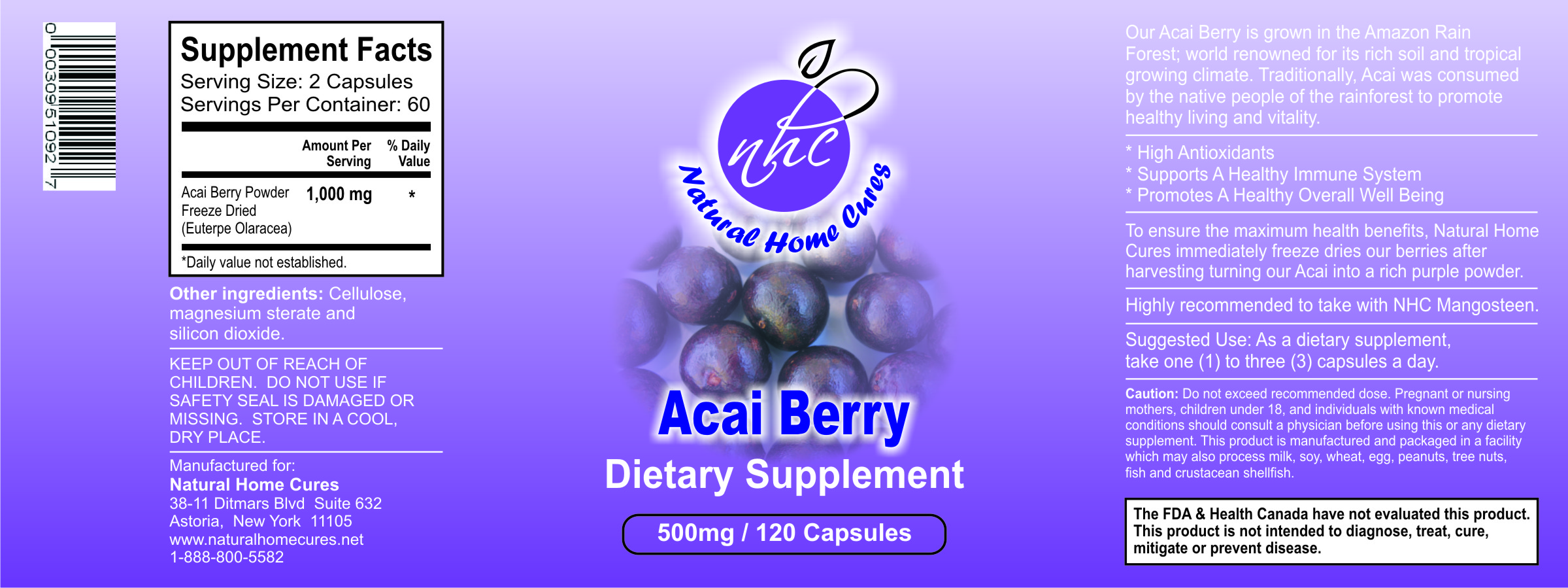 Natural Home Cures Organic Freeze Dried Acai Berry Product Label